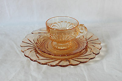 Cambridge Glass Caprice Mocha 3 Pc. Luncheon Set Cup & Saucer Luncheon Plate