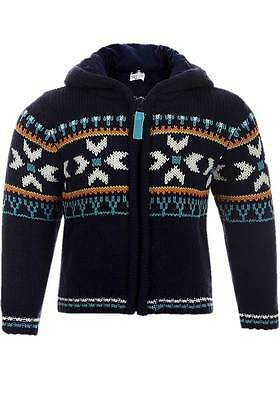 NEW Babaluno Baby Boys Navy Fair Isle Pattern Zip Up Hooded Chunky Cardigan