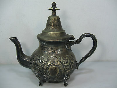 An Antique/vintage Beautifully Made & Decorated Hinged Tea Pot On Four Legs