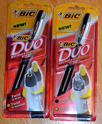 Bic Duo Pens Black Ink Yellow Highlighter pack of 2 Imperfect Packaging NEW**