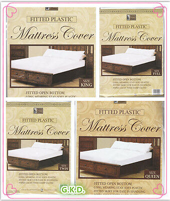 Fitted White Plastic Mattress Cover Protector Twin Full Queen King FREE SHIPPING