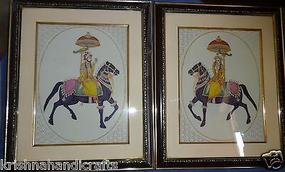 Vintage Look Miniature Gold Mughal Painting Pair Of King & Queen On Camel Bone