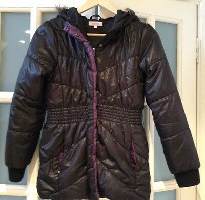 Vgc Miss E-Vie Quilted Hoodie Coat Size 11-12 Yrs