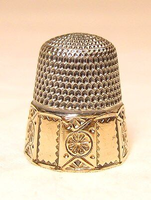 Antique Goldsmith Stern & Co. Gold Band Sterling Silver Thimble Panel Design