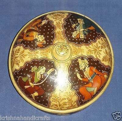 Vintage Look Collectible Hand Mughal Painted Round Shape Trinket Decorative Box