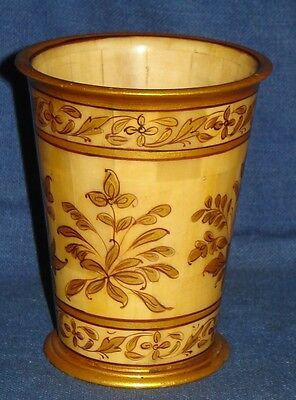 Vintage Look Decorative Collectible Hand Flower Painted Solid Camel Bone Glass