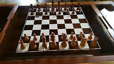 Large Solid Wood & Tinted Glass Coffee/chess Table With Brass Trim.reduced