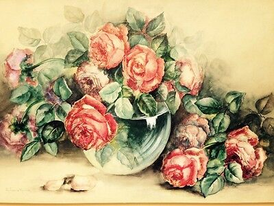 Beautiful Original watercolor Painting Roses Floral Shabby