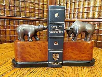 Bear and Bull Stock Market Bookends, Book Ends, Metal