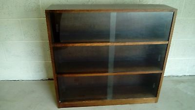 Vintage Oak Bookcase with Display Shelves Display Cabinet with Sliding Doors