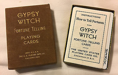 Gypsy Witch Fortune Telling Playing Cards Tarot Flocked Box 1960's Edition Rare
