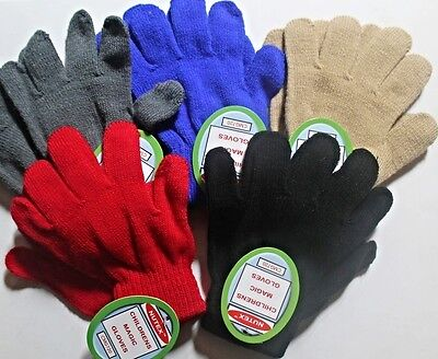 Children's magic gloves stretch to fit various colours wool, hand finished new