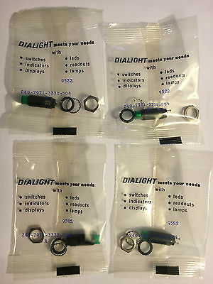 4 Dialight 249-7971-3332-504 12VDC, 20mA, 40mcd, Green LED Indicator! New!