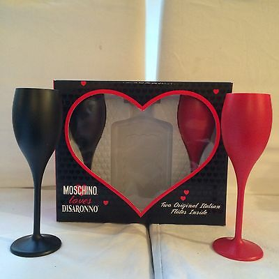 Disaronno Wears Moschino Limited Edition Gift Box & Two Flutes Party Bar Pub