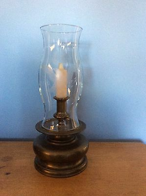 Make A Offer Chapman 1981 Large Scale Brass Base Etched Hurricane Candle Stand