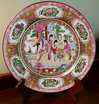 VINTAGE HAND PAINTED CHINESE EXPORT PLATE of HAREM GEISHA WOMEN PLAYING CHECKERS