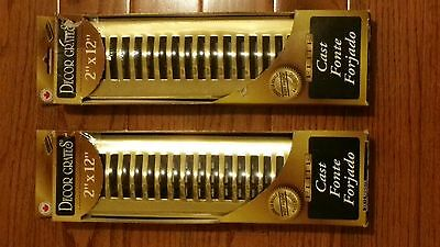 "SET 0F 2 = DECOR GRATES  2"" X 12"" Registr = ELITE BRASS ""RUST PROOF""  HSL212"