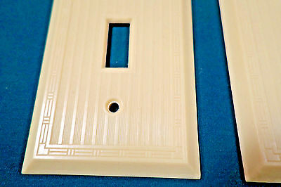 2 True Vintage Ivory Light Toggle SWITCH PLATES COVERS Art Deco Design... NOS!