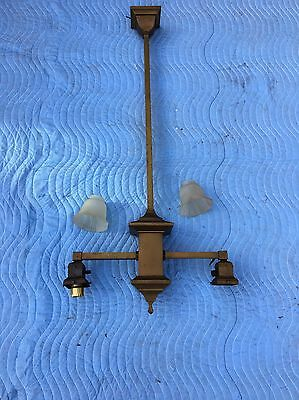 Vintage ARTS & CRAFTS MISSION Brass Chandelier Hanging Light Lamp Slag Fixture
