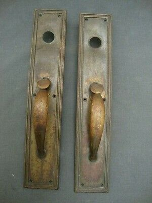 "1900s Brass Arts & Crafts Door Handle w Plate Latch 18"" Architectural Salvage"