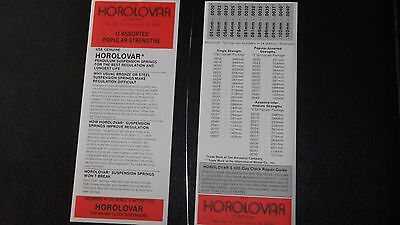 "New.."" Quality Horolovar  400 Day Clock Suspension SpringsMixed Popular Sizes"