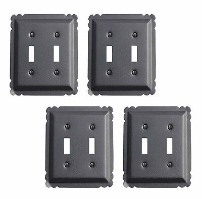 4 Switchplate Black Steel Double Toggle | Renovators Supply