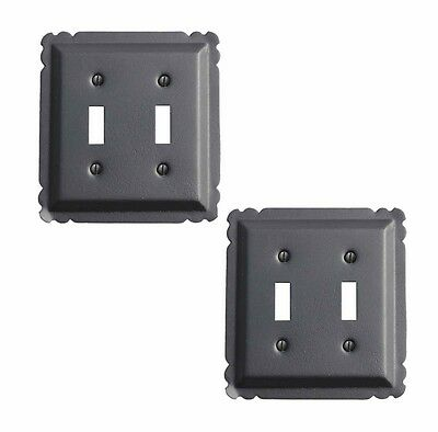 2 Switchplate Black Steel Double Toggle | Renovators Supply