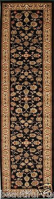 Traditional Hall Runner Floor Rug 4 meters Long Black Ivory FREE SHIPPING*