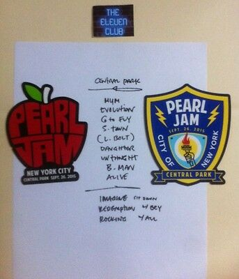 Pearl Jam Sticker Set 9-26 Global Festival Central Park Set List NYC Apple Badge
