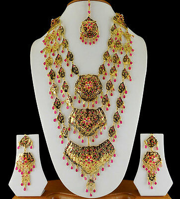 Indian Bollywood Jewelry Traditional Bridal CZ Necklace Earrings Tikka Set