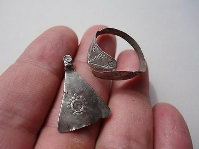 lot Celtic-Roman silver votive axe pendant, and engraved ring displayed a snake