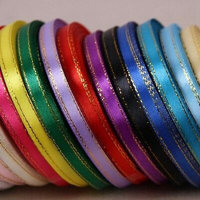 5yds Gilt Edged Many Colours 6mm Satin Ribbon DIY Craft Bow Wedding Party #449