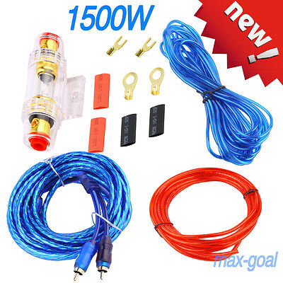 1500W 14GA Car Audio Amplifier AMP Wiring Fuse Holder Wire Cable Kit MG
