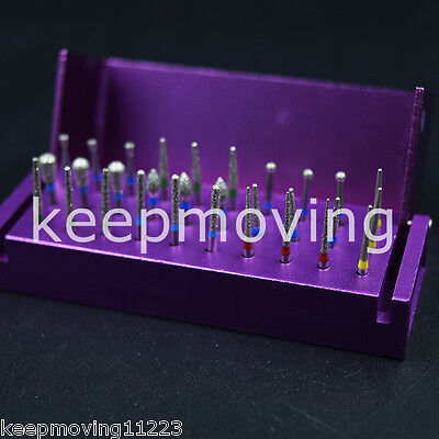 30X Dental Diamond Burs Drill + Disinfection Block Case Box Holder Stand Purple