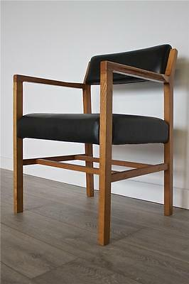 DELIVERY£40 Retro Mid Century Danish Style Teak Black Leatherette Carver Chair