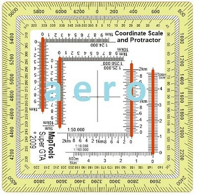 Protractor Reader Scale Improved Military UTM MGRS Map Tools Super GTA aero