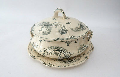 Vintage French Faience Vegetable Dish Transferware