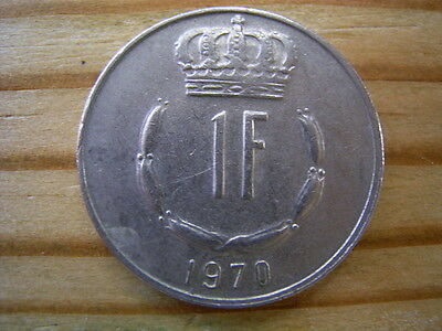 1970  Luxembourg 1 Franc Coin Collectable