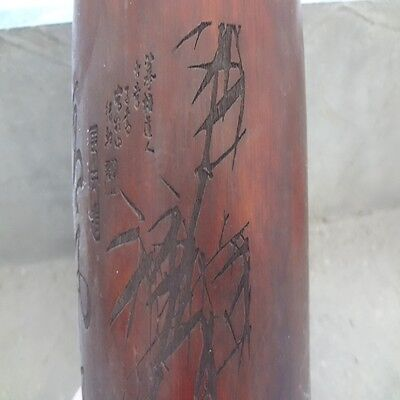 China antique,100%natural Old bamboo,Hand carved academics bamboo poem words