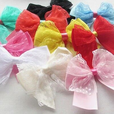 5 pcs Lace Satin Ribbon Bows Flowers Appliques Wedding Doll Decor Lots Mix #398