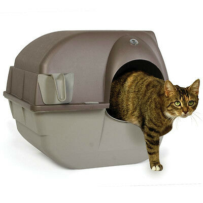 Self-Cleaning Cat Litter Box Tray Covered Pet Toilet Lid Scoop Hooded Brown