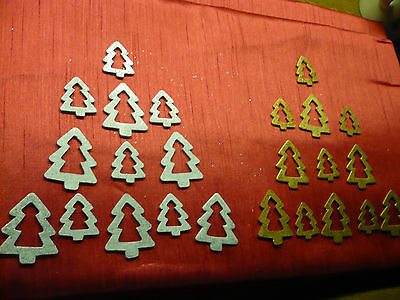 PACK of 24 WOODEN CHRISTMAS TREE EMBELLISHMENTS for CARDS or SCRAPBOOKING
