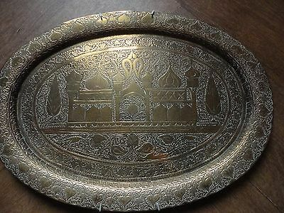 Vintage Decorative Brass Wall Plaque Hanging Plate Temple Very Detailed