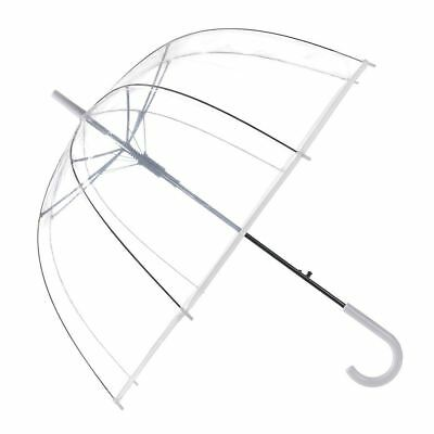 Drizzles Ladies Clear Dome Umbrella Brolly With Matching Crook Handle - White