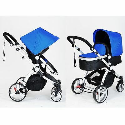 Joy Baby 2 in 1 Pram Stroller Jogger with Bassinet and Accessories - Blue