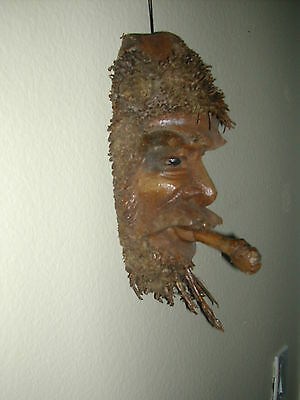 "Palmetto Root Face Mask ""old Man With Cigar"" 12""hx5""wx3""d Wall Art Hand Carved"