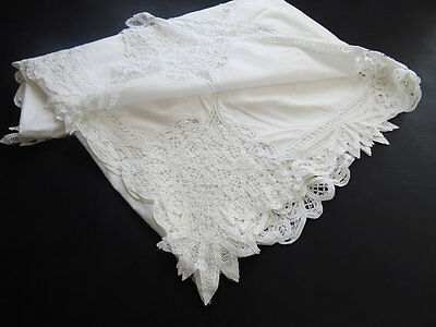 SALE French Wedding Tablecloth Vintage Handmade Lace Hand Embroidered / Wedding
