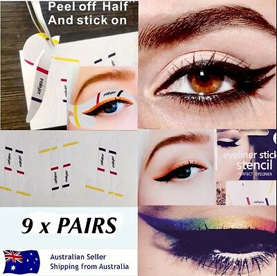 Cat Eyeliner Stencil Stickers Hands Free Winged Eye Makeup Application 9 x PAIRS