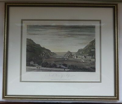 An original framed 1813 Print, hand coloured engraving North View of Polperro