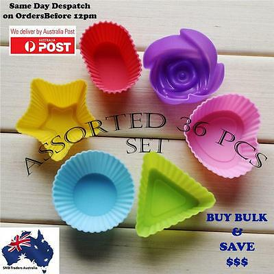 36 Pcs Silicone Cup Cake Foundant  Decoration Moulds Assorted Color and Shapes